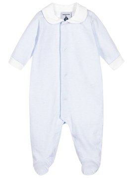 Babidu Blue white stripes baby suit with white collar