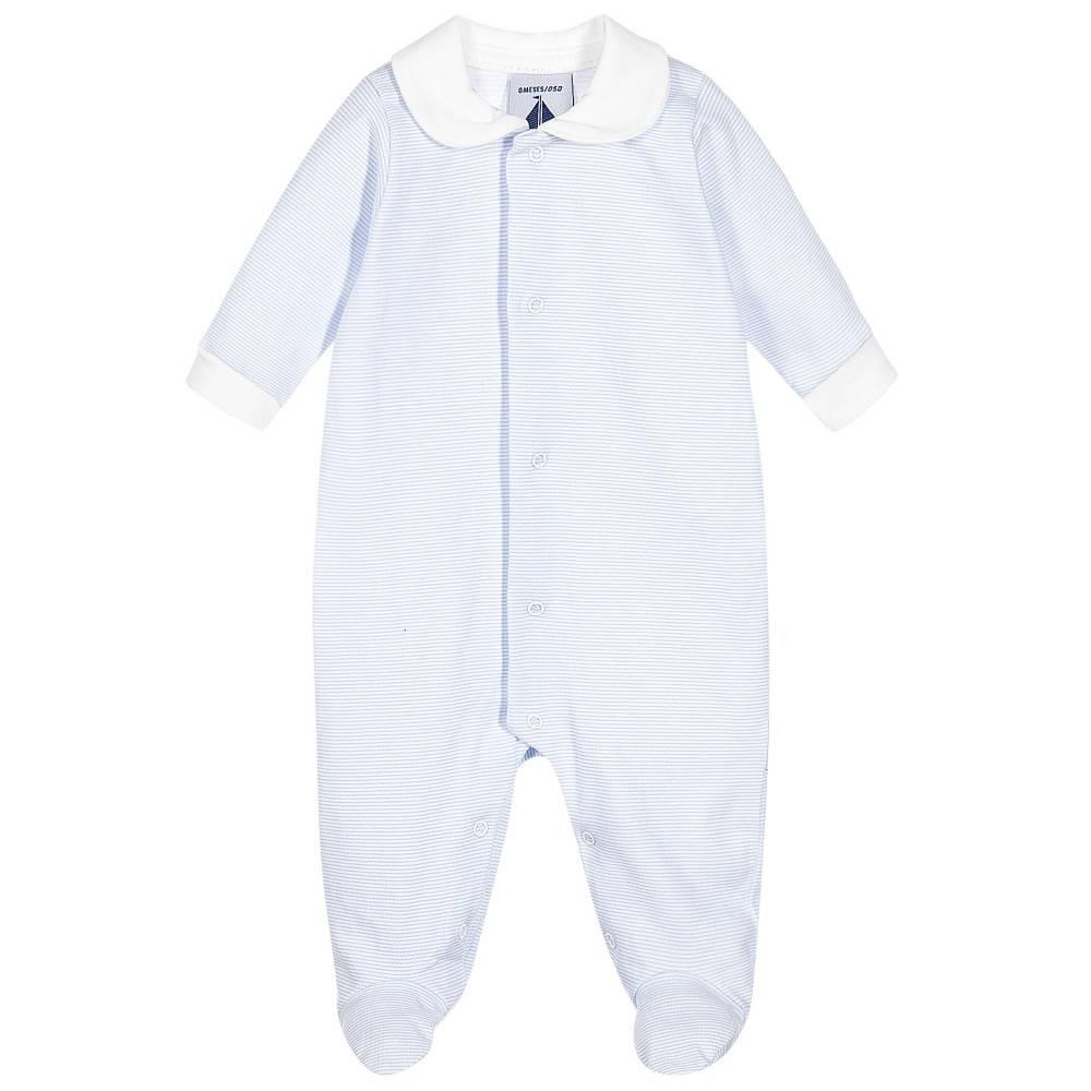 Babidu Blauw wit gestreept babypakje met witte kraag