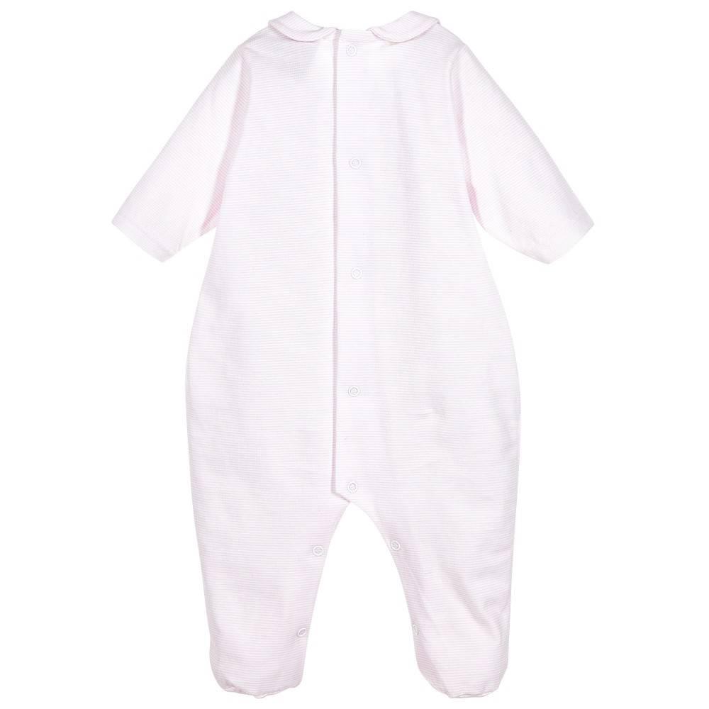 Babidu Babysuit pink white stripes