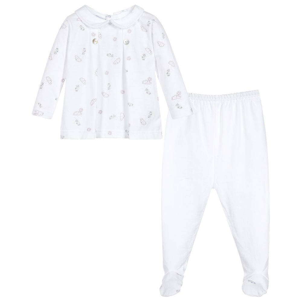 Babidu Babyset with top and pants - cloud design - pink