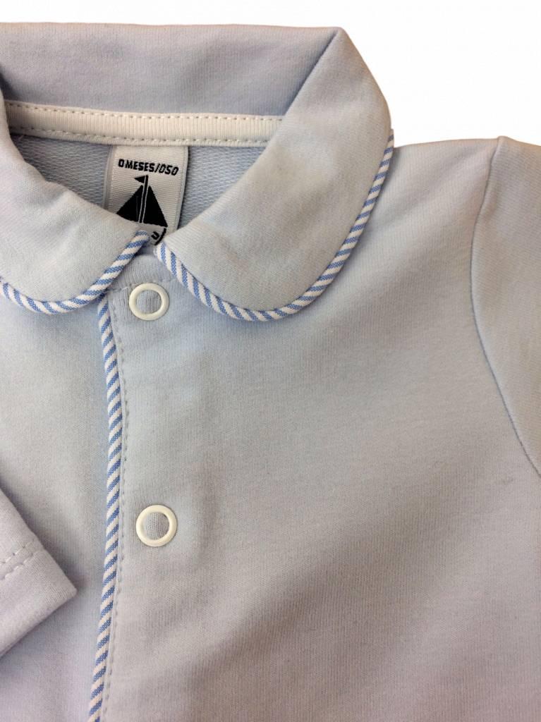 Babidu Blue babysuit with blue white stripes