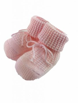 Paolo Romboli Baby booties with knitted pattern- pink