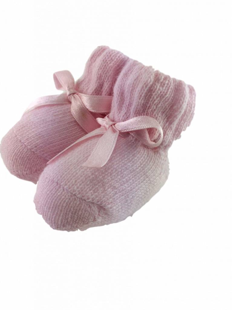 Paolo Romboli Baby booties with bow – pink