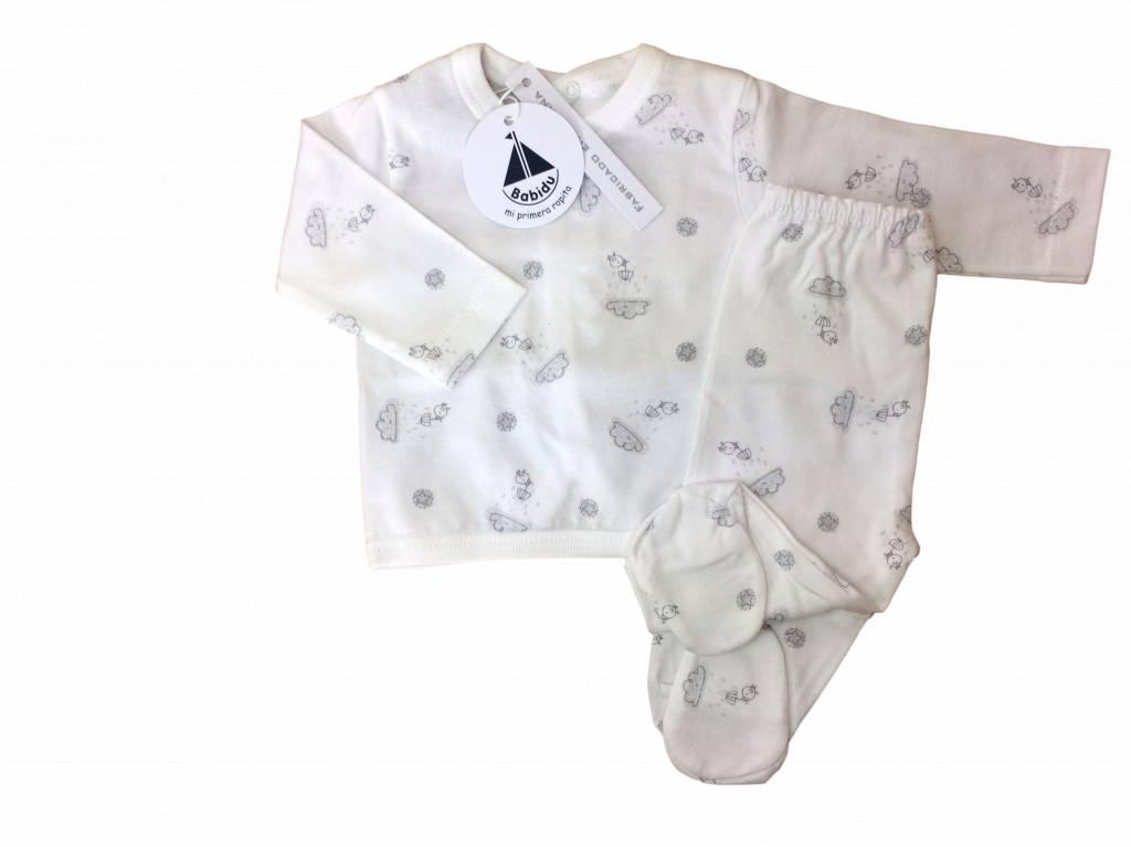 Babidu Babidu babyset met top en broek - wolkjes en vogeltjes - grijs