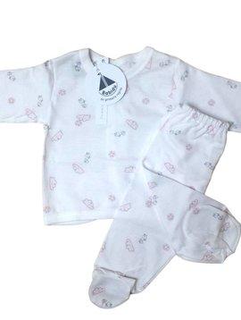 Babidu Babyset met wolkjes en vogeltjes - roze
