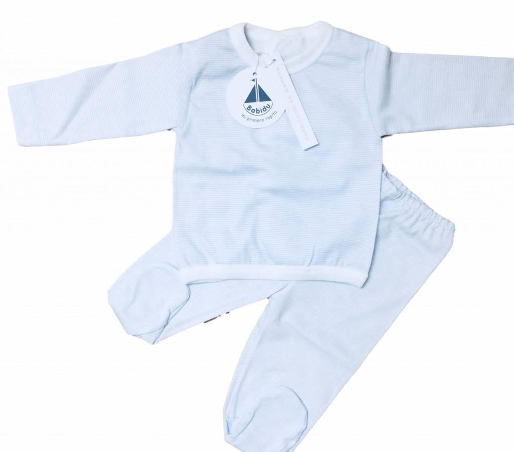 Babidu Babyset blauw wit gestreept – top en broekje