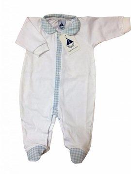 Babidu Babypakje wit met kraag –blauw  geruit