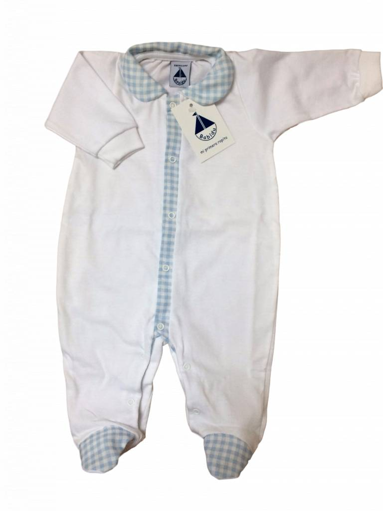 Babidu Babysuit white with collar - blue