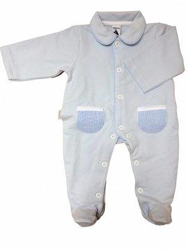 Babidu Blauw Babypakje met blauw wit gestreepte zakjes