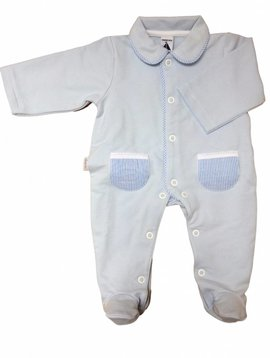 Babidu Blue babysuit with blue white stripes