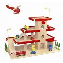 DuDutoys - Parkeer garage groot met lift - Rood