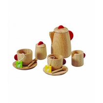 PlanToys - Theeservies - Luxe - Blank/rood
