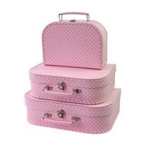 Simply for Kids - Kofferset - 3 Koffertjes - Roze met witte stippen