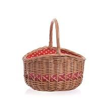Egmont Toys - Rieten mand - Rood met witte stippen - 24cm