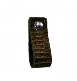 NiiNiiX Leren handgreep met crocodile print zwart / grijs