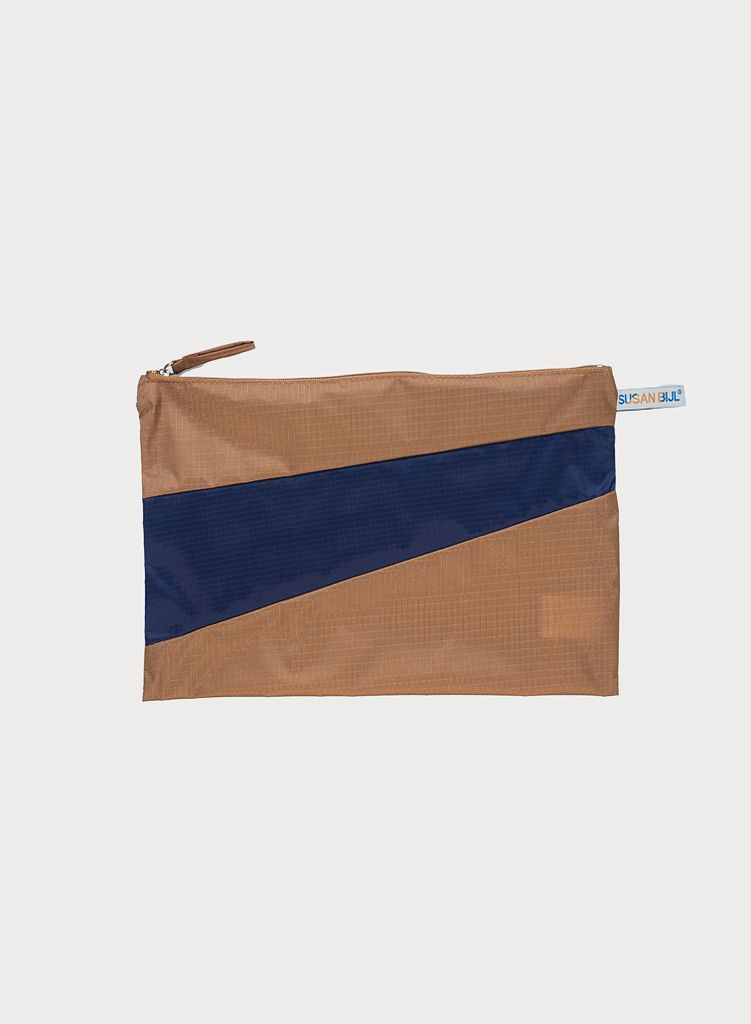 SUSAN BIJL Pouch Camel & Navy, without loops