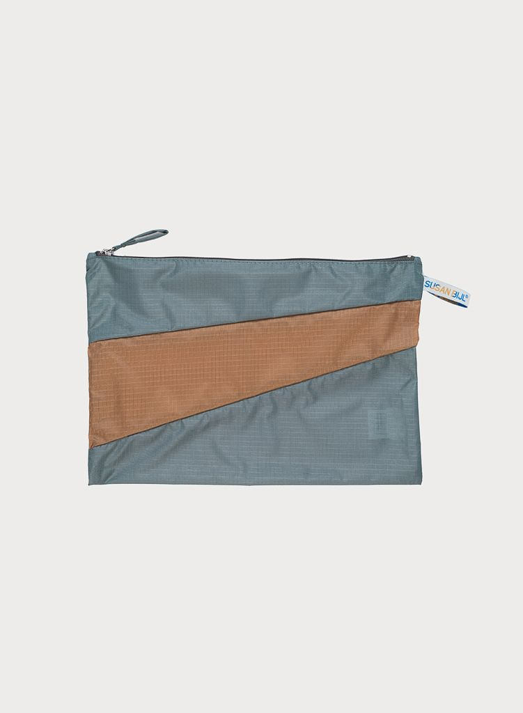 SUSAN BIJL Pouch Grey & Camel, without loops