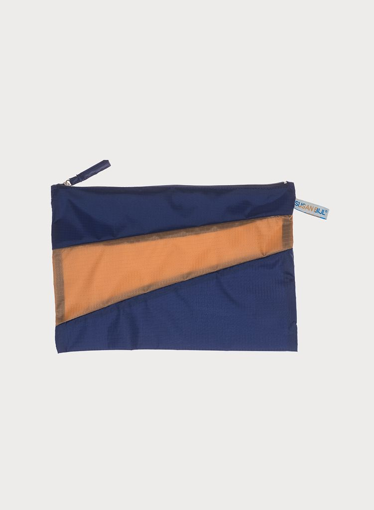 SUSAN BIJL Pouch Navy & Camel, without loops