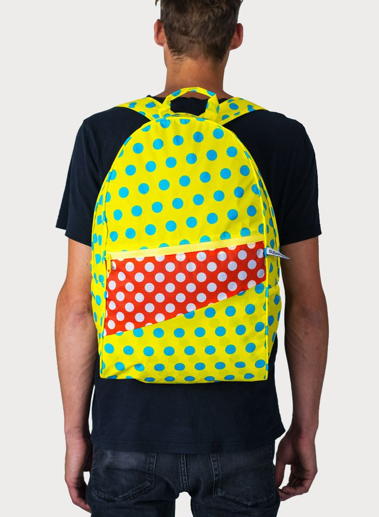 SUSAN BIJL Foldable Backpack Dots Yellow & Red