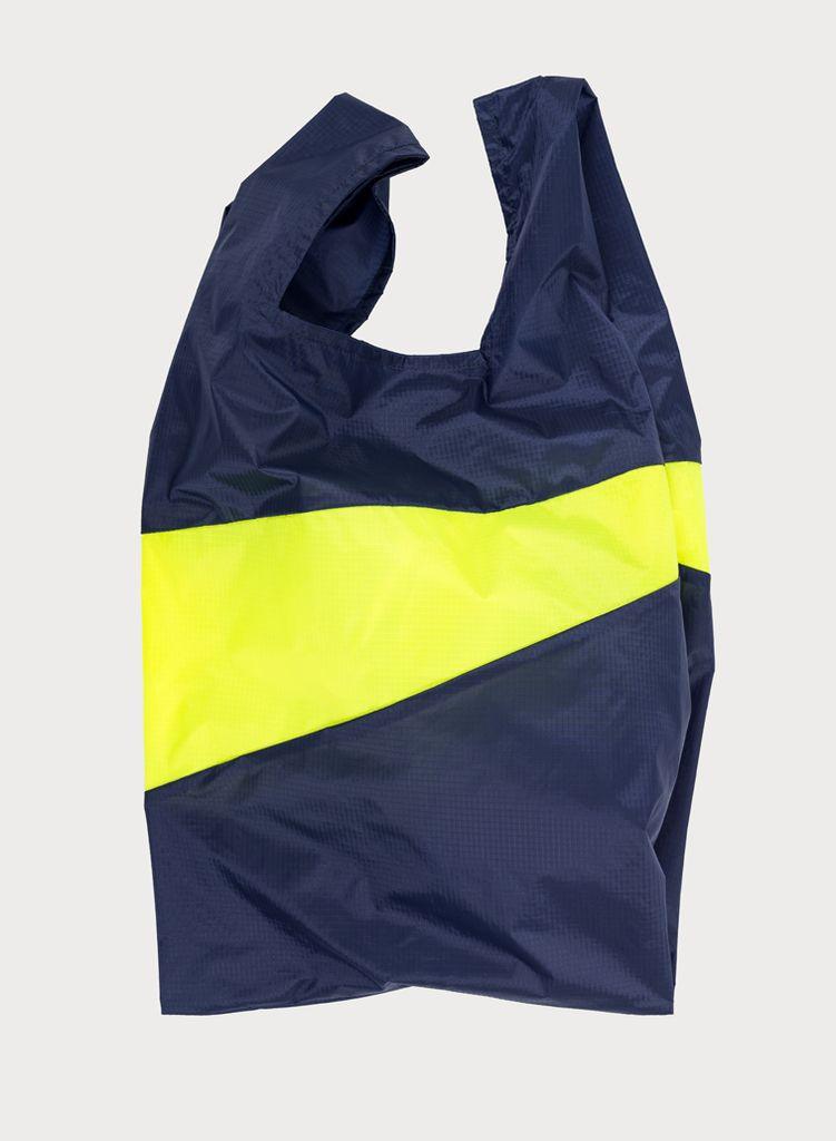 SUSAN BIJL Shoppingbag Navy & Fluo yellow