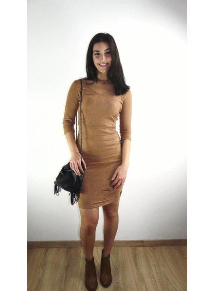 DESTROYED SUEDE BROWN DRESS