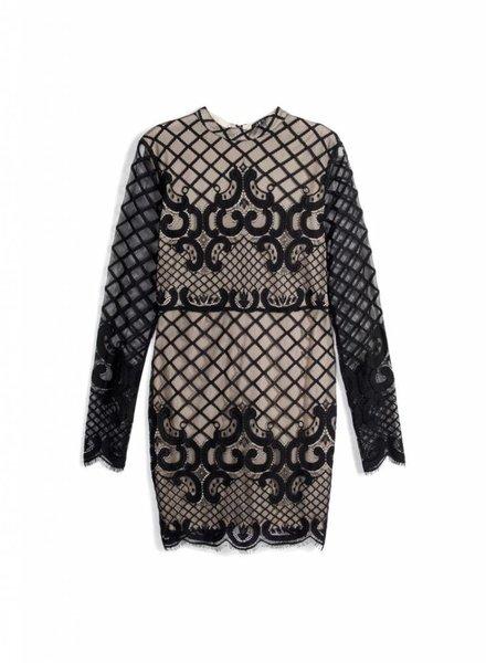 LACE MESH DRESS BLACK