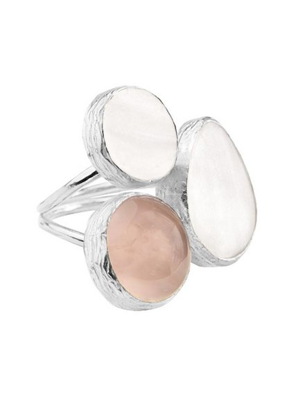 MY JEWELLERY GOLD TRIO GEM RING SILVER