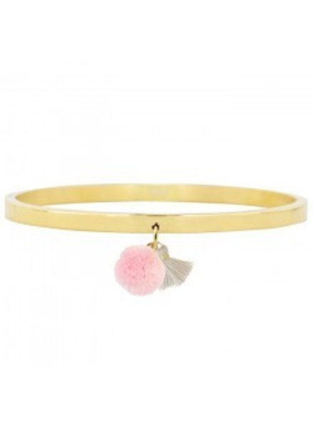 POMPON & TASSEL BANGLE GOLD -GREY/PINK