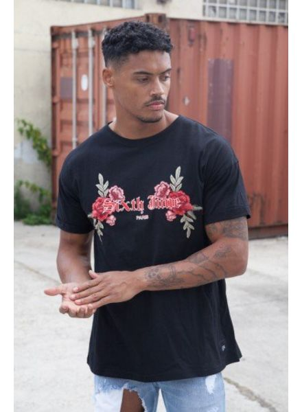 SIXTH JUNE MEN EMBROIDERED ROSES T-SHIRT