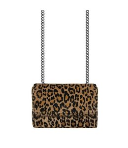 CROSSBODY CHAIN CLUTCH LEOPARD BROWN