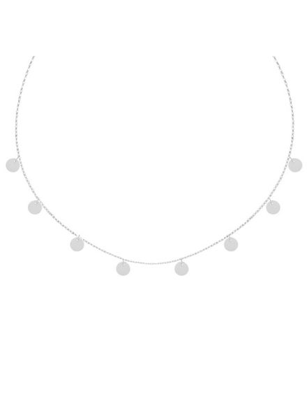 TINY NECKLACE COINS SHORT SILVER