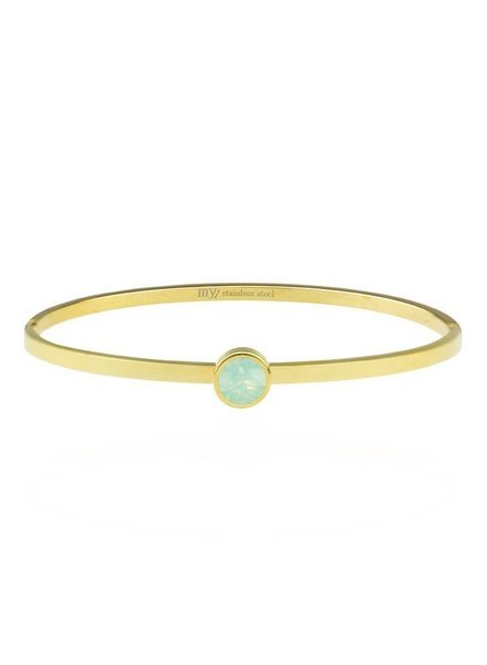 LITTLE STONE BANGLE GREEN -GOLD