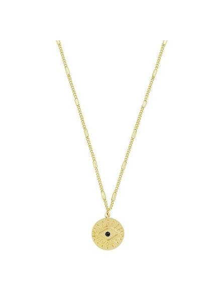 PENDANT NECKLACE COIN EYE GOLD