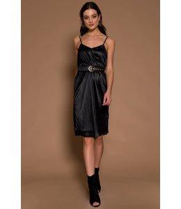 RAISA PLEAT DRESS BLACK