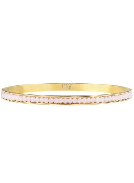 BEADS BANGLE LIGHT PINK - GOLD