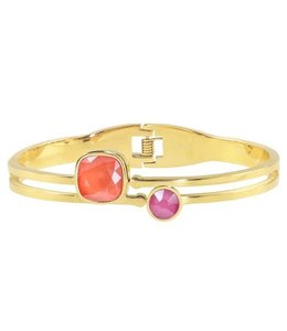 SQUARE STONE BANGLE CORAL FUSCHIA