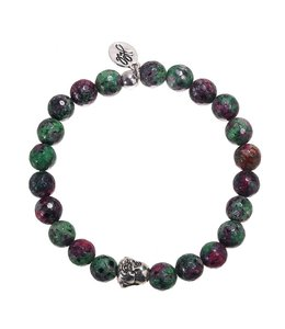 BRACELET LAUGHING BUDDHA GREEN