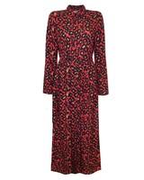 LONG RED LEOPARD DRESS