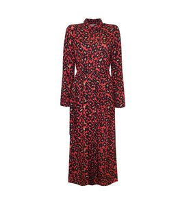 LONG RED LEOPARD DRESS