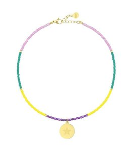 BEADS & COIN ANKLET STAR GOLD
