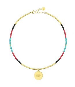BEADS & COIN ANKLET EYE GOLD