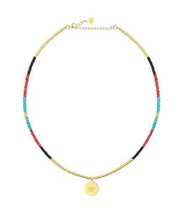 BEADS & COIN CHOKER EYE GOLD