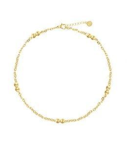 CHAIN & DUBBLE DOT ANKLET GOLD