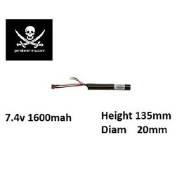 PIRATE ARMS 7.4V 1600mAh Lipo 15C - Stick - Deans