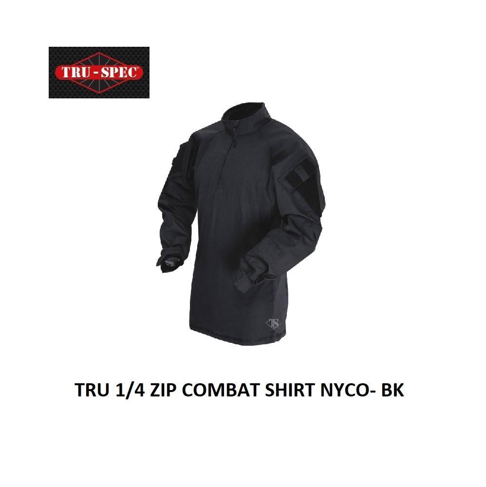 TRU-SPEC TRU 1-4 ZIP COMBAT SHIRT NYCO- BK