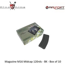 King Arms Magazine M16 Midcap 120rds - BK - Box of 10