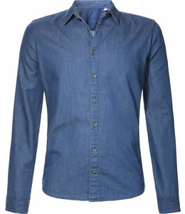 BETTER.. Clothing Slimfit overhemd in indigo spijkerstof