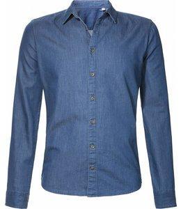 Slimfit overhemd in indigo spijkerstof