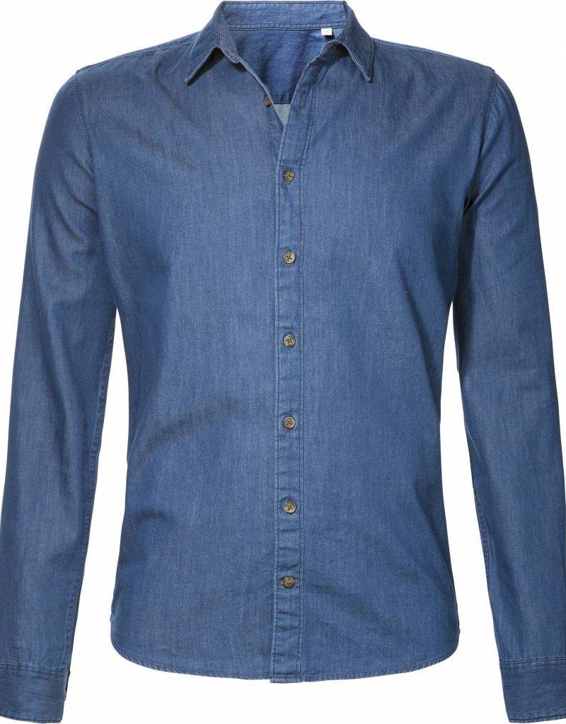 BETTER.. Clothing Slim Fit Hemd aus Indigoblauen Jeansstoff