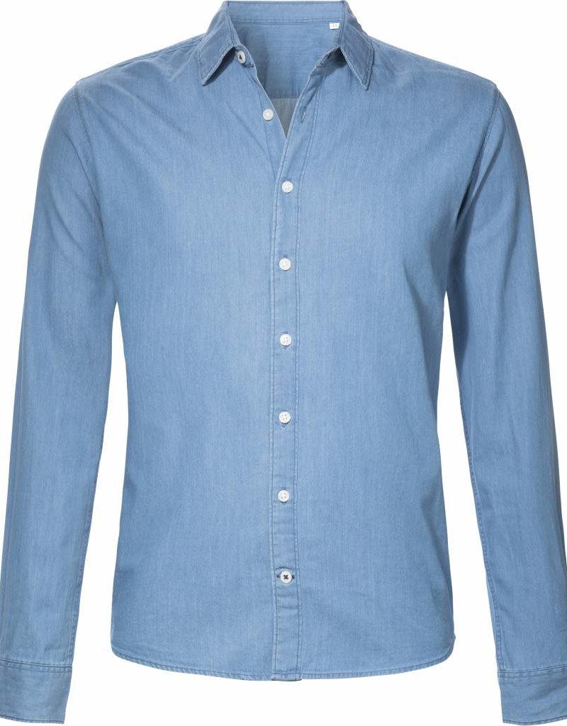 BETTER.. Clothing Denim slimfit overhemd van lichtblauwe spijkerstof
